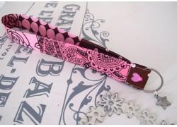 Schlüsselband braun rosa