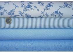 Stoffpaket blau weiß Blumen Streifen Punkte
