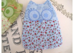 kleines Wärmekissen Eule hell blau für Babys