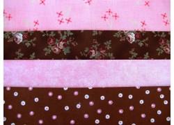 Stoffpaket Rosen Punkte Blümchen rosa braun