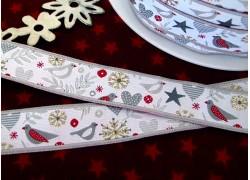 Webband Weihnachten Vögel Eiskristalle