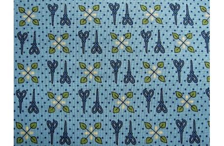PATCHWORKSTOFF Scheren Ornamente türkis blau
