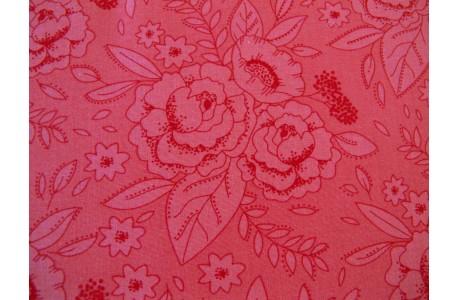 Patchworkstoff Rosenstoff Blumenstoff korallen rot