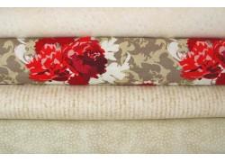 Stoffpaket in creme rot mit Blumenstoff