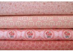 Blumenstoffe apricot rosa im Stoffpaket