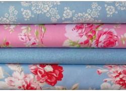 Stoffpaket mit Blumenstoffen rosa blau