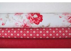 Stoffpaket romantische Stoffe himbeer rot weiß