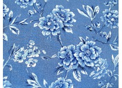 Stoff Blumen mittel blau Moda Patchworkstoff