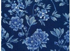 Patchworkstoff Stoff Blumen dunkel blau Moda