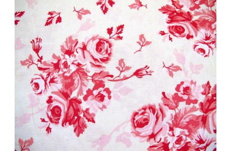 Stoff Rosen rosa creme Patchworkstoff