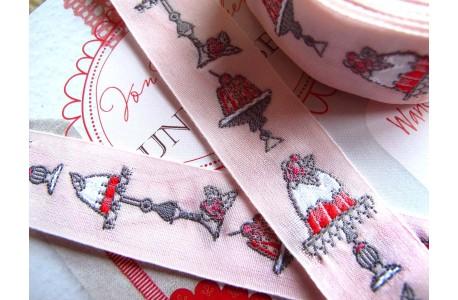 Webband Törtchen rosa pink grau acufactum