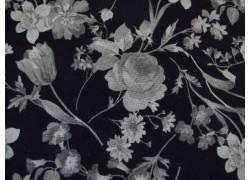 Patchworkstoff Rosen Tulpen Nelken schwarz grau