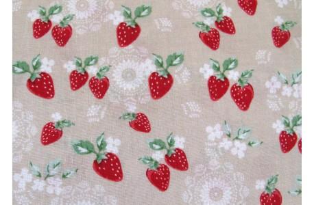 Stoff Erdbeeren rot beige Patchworkstoff Lecien