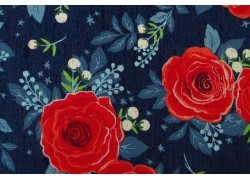 Stoff Rosen blau rot Patchworkstoff Hedge Rose