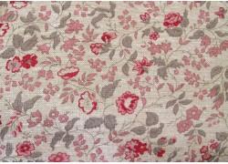 Stoff Rosen Blumen Leinenoptik rosa beige