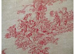 Stoff Toile de Jouy acufactum rot beige