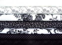 Stoffset Rosen schwarz weiß