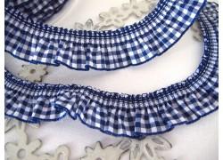 Rüschenband dunkelblau weiß