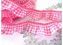 Rüschenband pink weiß