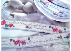 Webband Blüten rosa silber grau acufactum