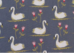 Stoff Schwan Patchworkstoff Swans a swimming