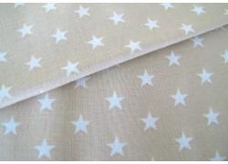 Baumwollstoff Sterne beige