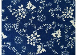 Stoff Blumenranken dunkel blau Regency Blues
