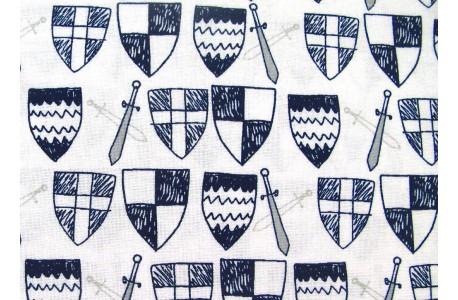 Stoff Kinder blau weiß Schild und Schwert Camelot