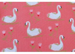 Stoff Schwan rosa Swans a swimming