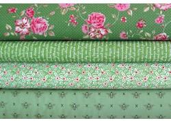 Stoffe Rosen Bienen Text grün rosa Stoffpaket