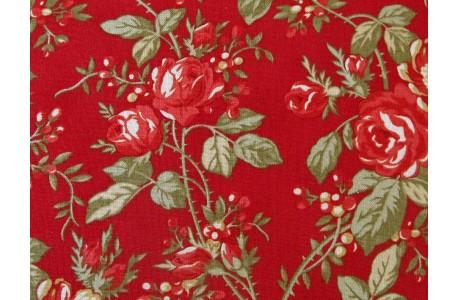 Stoff Rosen rot grün Rosewood