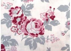 Rosenstoff weiß grau rosa Patchworkstoff