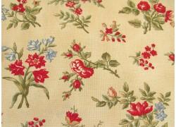 Stoff Blumen rot ocker Rosewood