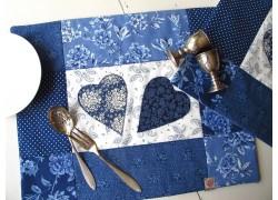 Tischset blau weiß Herzchen
