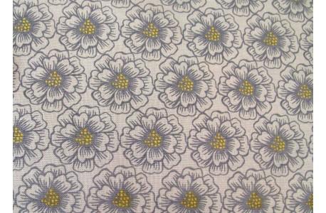 Stoff Blumen grau gelb Panduro