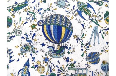Stoff Heißluftballons blau Adventures In The Sky
