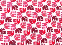 Stoff Schulhaus rot weiß Home Again