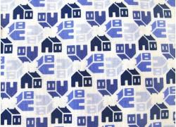Stoff blau weiß Schulhaus Home Again
