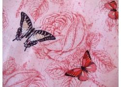 Stoff Schmetterlinge rosa Le Bouquet