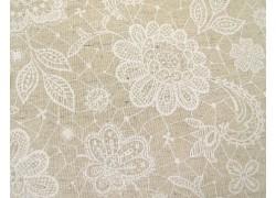 Stoff Blumen beige creme Cosmo