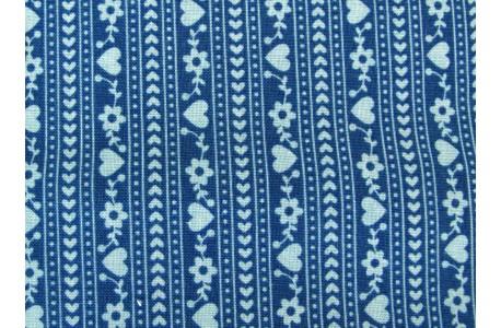 Stoff blau Blumen Herzchen Gretel