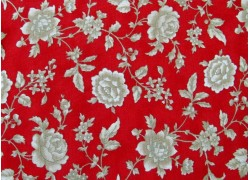 Stoff Rosen rot beige Cinnaberry