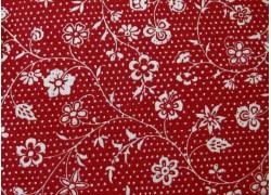 Stoff Blumenranken creme rot Fleur de Noel