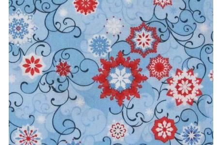 Stoff Eiskristalle blau