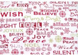Weihnachten Stoff Text rot weiß