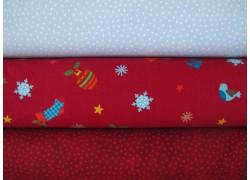 Stoffpaket Weihnachten rot blau