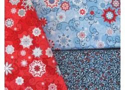 Stoffpaket Weihnachten blau rot
