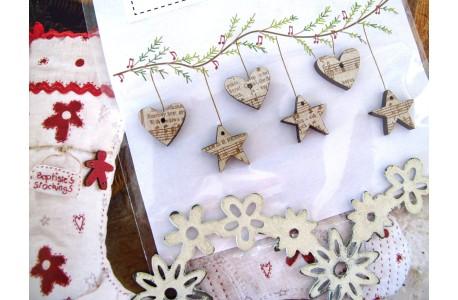 Holzknöpfe Herzchen Sterne weihnachtlich