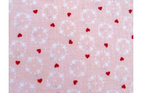 Stoff Herzchen rot rosa Gretel