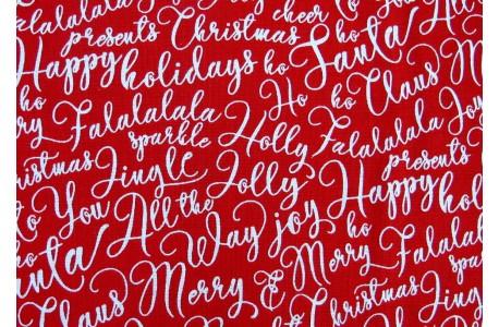 Patchworkstoff Schnörkelschrift rot Merry and Bright